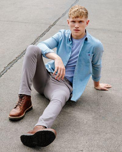 Paul Galvin Blue Regular Collar Melange Shirt