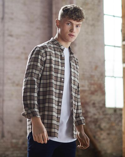 Paul Galvin Slim Fit Long-Sleeved Check Shirt