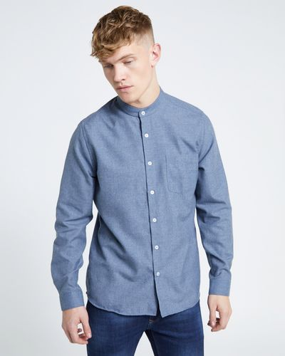 Paul Galvin Slim Fit Long Sleeve Grandad Shirt Blue