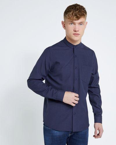 Paul Galvin Slim Fit Long Sleeve Grandad Collar Shirt Navy