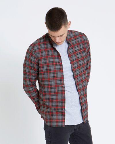 Paul Galvin Slim Fit Grey Check Grandad Shirt