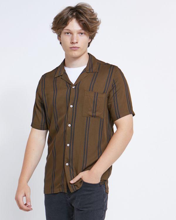 Paul Galvin Short Sleeve Khaki Revere Shirt