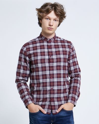 Paul Galvin Wine Check Grandad Shirt