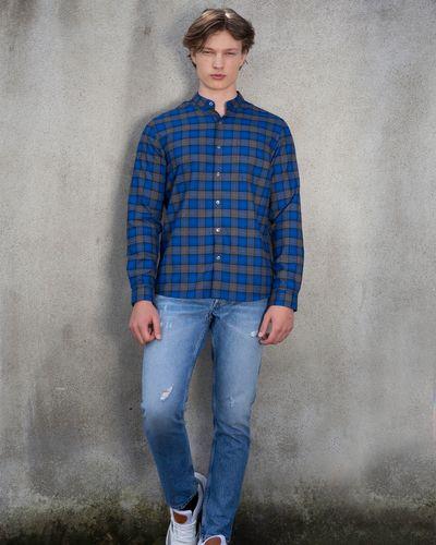 Paul Galvin Blue Check Grandad Collar Shirt