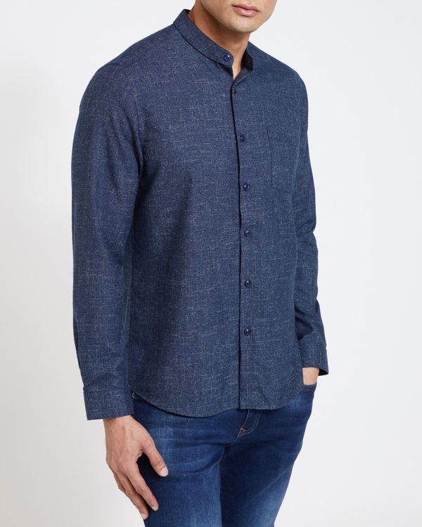Paul Galvin Navy Grindle Grandad Shirt