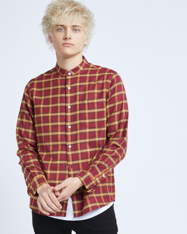 Paul Galvin Red Grandad Check Shirt