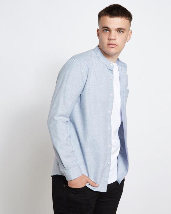 Paul Galvin Blue Melange Grandad Shirt