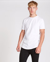 white Paul Galvin Short Sleeve Dipped Hem Stretch T-Shirt