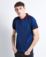 blue Paul Galvin Short Sleeve Jersey With Collar