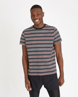 charcoal Paul Galvin Printed Stripe T-Shirt