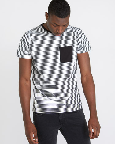 Paul Galvin Striped T-Shirt With Pocket