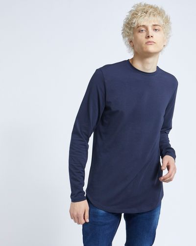 Paul Galvin Navy Long Sleeve Dipped Hem Stretch Tee Shirt
