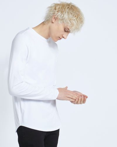 Paul Galvin White Long Sleeve Dipped Hem Stretch Tee Shirt