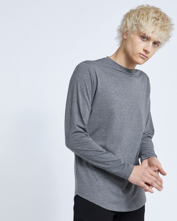 Paul Galvin Long-Sleeved Charcoal Dipped Hem Stretch Tee