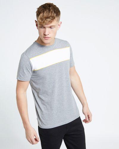 Paul Galvin Grey Chest Panel Stripe Tee Shirt