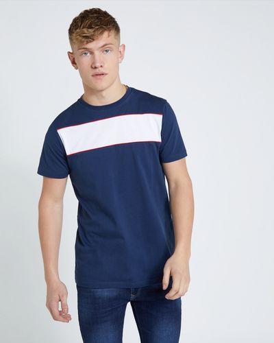 Paul Galvin Navy Chest Panel Stripe Tee Shirt