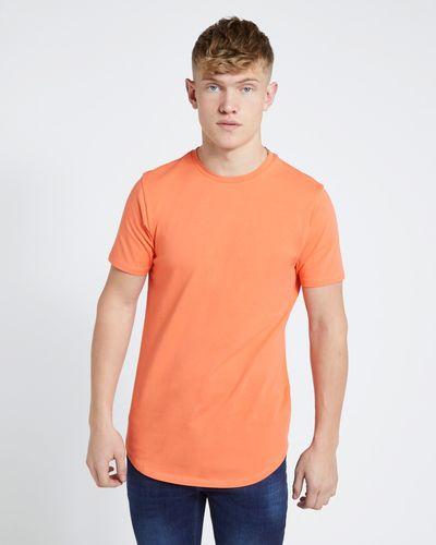 Paul Galvin Short Sleeve Neon Dipped Hem Stretch Tee Shirt