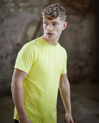 Paul Galvin Short Sleeve Neon Yellow Dip Hem Stretch Tee Shirt