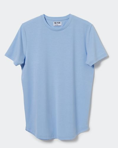Paul Galvin Blue Dipped Hem Tee Shirt