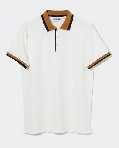 Paul Galvin Cream Stripe Collar Polo thumbnail