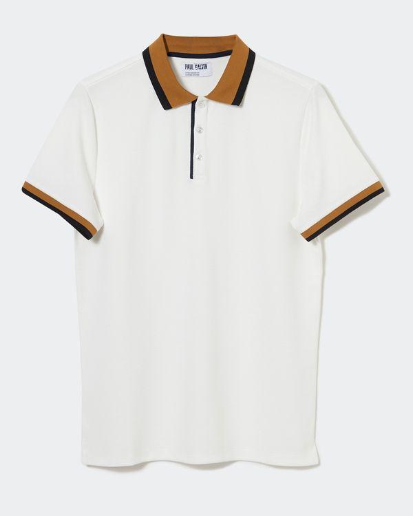 Paul Galvin Cream Stripe Collar Polo