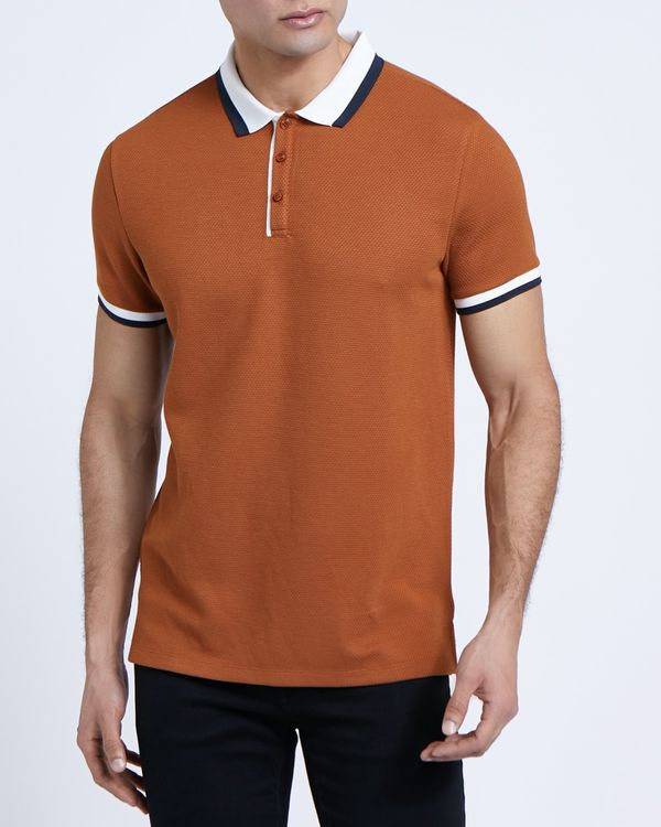 Paul Galvin Tan Stripe Collar Polo