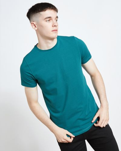Paul Galvin Short Sleeve Green Dip Hem Stretch Tee Shirt