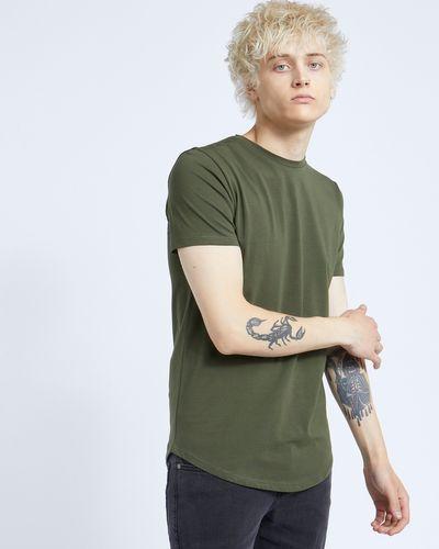 Paul Galvin Short-Sleeved Khaki Dip Hem Tee Shirt