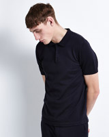 navy Paul Galvin Short-Sleeved Knitted Polo