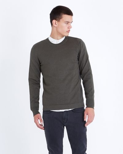 Paul Galvin Forest Green Fine Gauge Crew-Neck Sweater thumbnail