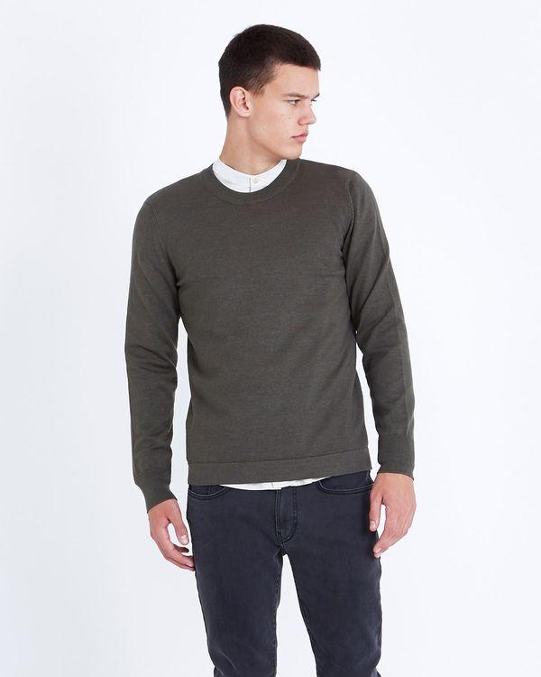 Paul Galvin Forest Green Fine Gauge Crew-Neck Sweater