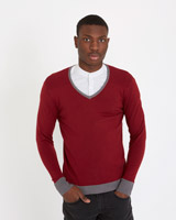 red Paul Galvin Ribbed Jumper