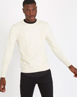 white Paul Galvin Crew Neck Cable Knit Jumper