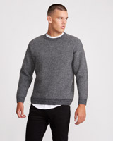 grey Paul Galvin Jacquard Crew Neck Jumper