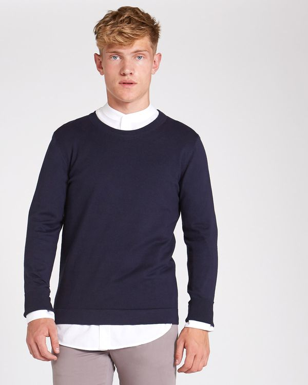 dc0932e3319a Dunnes Stores | Navy Paul Galvin Navy Crew-Neck Knit Jumper With Stretch