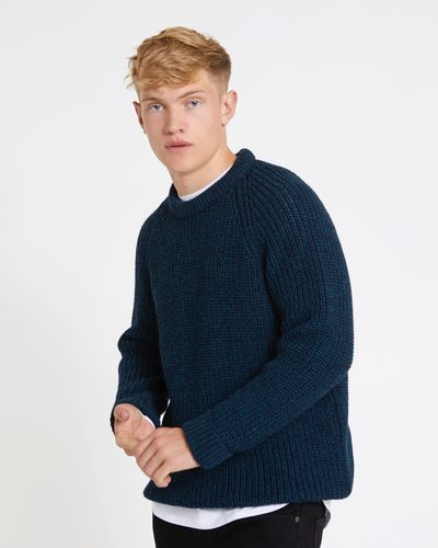 Paul Galvin Teal Fisherman Rib Jumper