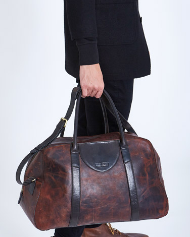 brown Paul Galvin Leather Holdall Bag
