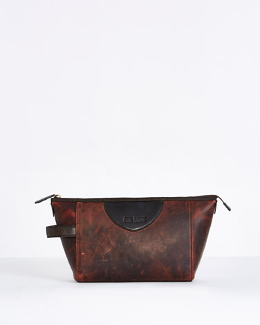 brown Paul Galvin Leather Washbag