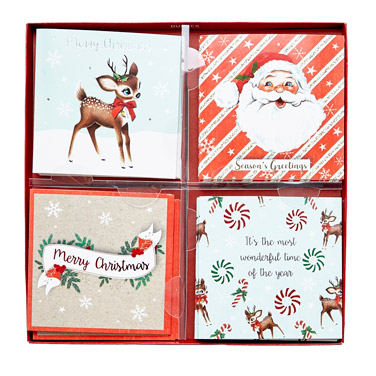 redChristmas Cards - Pack Of 16