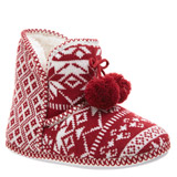 red Fair Isle Bobble Booties