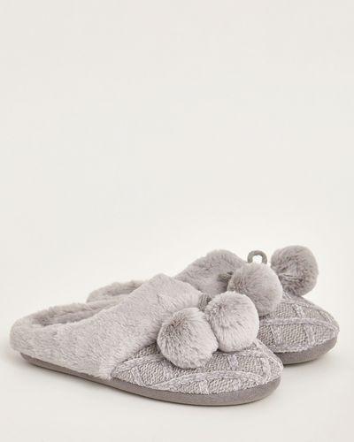 Chenille Bobble Mule Slippers