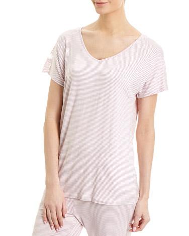 lilacStripe Lace Pyjama Top