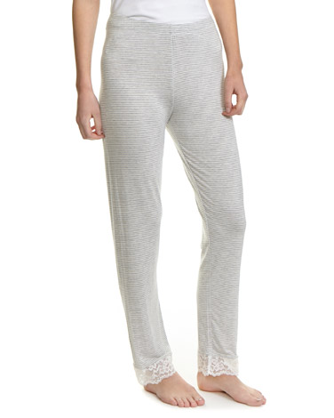 grey-marl Viscose Lace Pyjama Bottoms