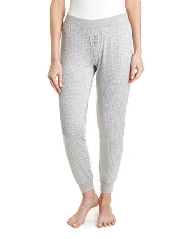 grey-marl Print Viscose Pyjama Bottoms