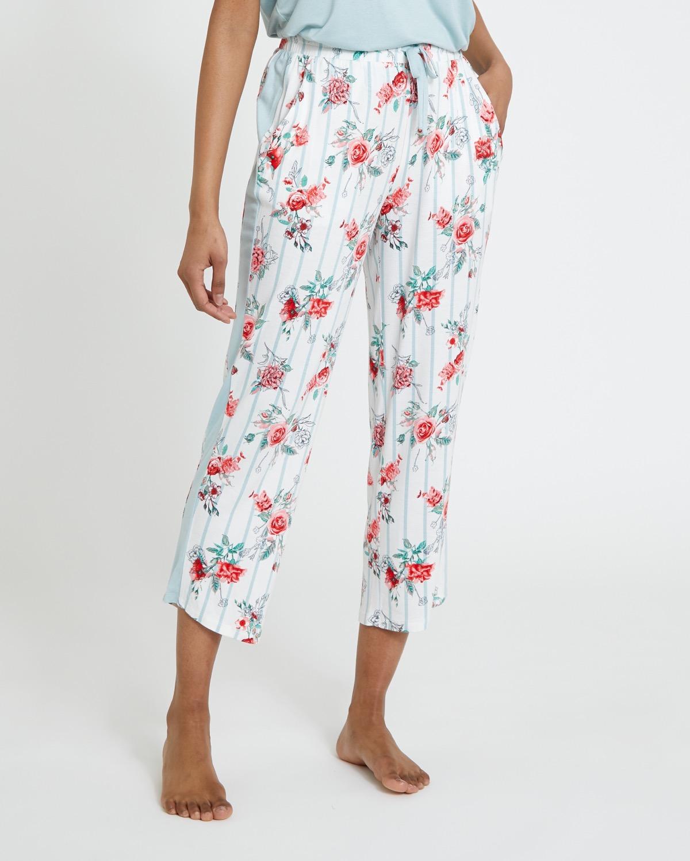 Sage Floral Crop Pants