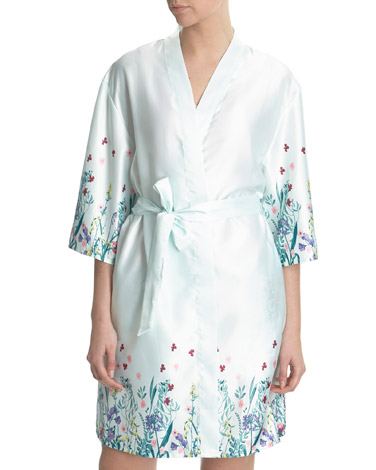 Dressing Gowns and Wraps | BLUE Aqua Floral Wrap | Dunnes Stores