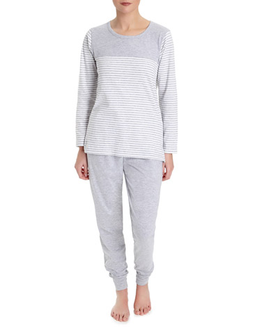 grey Grey Stripe Pyjama Set
