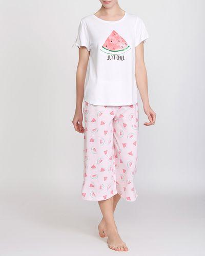 Tie Sleeve Crop Wide Leg Melon Pyjamas thumbnail
