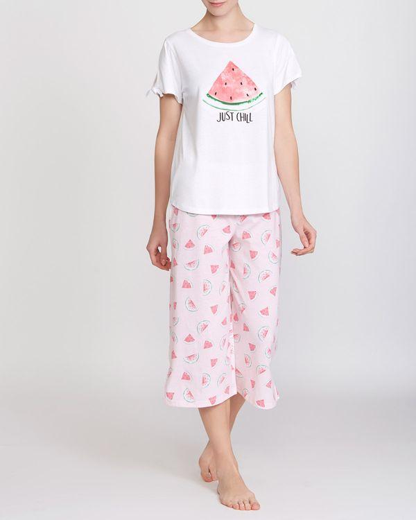 Tie Sleeve Crop Wide Leg Melon Pyjamas