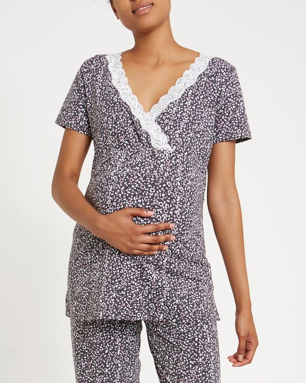 Maternity Animal Print Lace Top